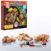 Деревянный набор для творчества (конструктор) Стройтехника, бетономешалка экскаватор грузовик