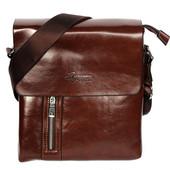 Мужская стильная коричневая сумка с боковым карманом (54142)