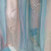 Тюль гардина органза JS-2 голубая и салатовая