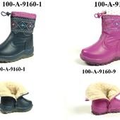 100-А-9160  Новинки, Детские зимние ботинки для девочки, J&G, две расцветки, размеры 23-28