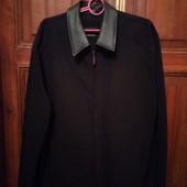мужская куртка классика деми с кожаным воротником р-р 54