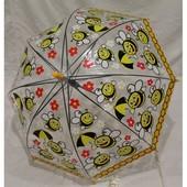 Россия. Прозрачные. Детский зонт-трость грибком.