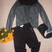S-ка стеганая брендовая курточка под кожу