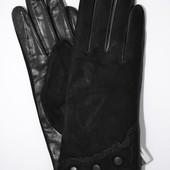 """Женские замшевые перчатки с кожаной ладошкой """"лайка"""" на шерстяной вязаной подкладке"""