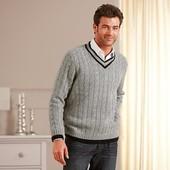 Теплый мужский свитер , с v-образным вырезом от ТСМ , размер ХЛ , 50 % шерсть