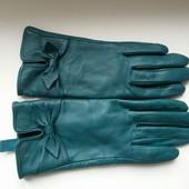 Кожаные зеленые перчатки на флисе, размер 6,5