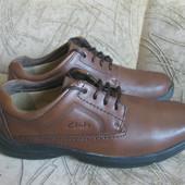 туфли коричневые Кларкс, сделано в Камбоджи, 41,5-42 размер, на широкую ногу