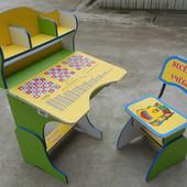 Парта + стул 2878, алфавит, таблица умножения, желто-зеленая