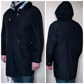 Куртка мужская с капюшоном длинная черная