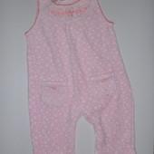 велюровые штаны-комбинезон на 3-6 мес