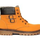 Яркие мужские зимние ботинки на меху с пряжками маломерки (D 332-4)