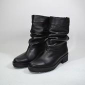 кожаные полусапожки деми/зима Модель: 25-V, черная кожа.