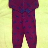 Утепленный домашний костюм, слип, пижама 5-6 см рост, Next