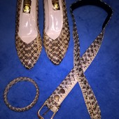 Туфли, ремень и браслет из натуральной кожи змеи,питона!