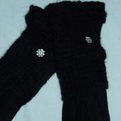 Красивые перчатки с довязом,кашемир,р-р 7,5 универсальный