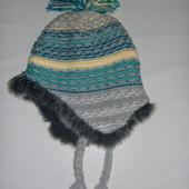 шапка вязанная на флисе на 5-7 лет