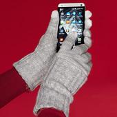 Вязанные удлиненные  перчатки от ТСМ (германия) , размер 6.5, пальчики предназначены для смартфона