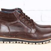 Ботинки мужские кожаные, зимние на шнурках,