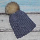 Теплая зимняя шапка. На флисе, натуральный бубон, помпон, с натуральным, бубоном,  помпоном