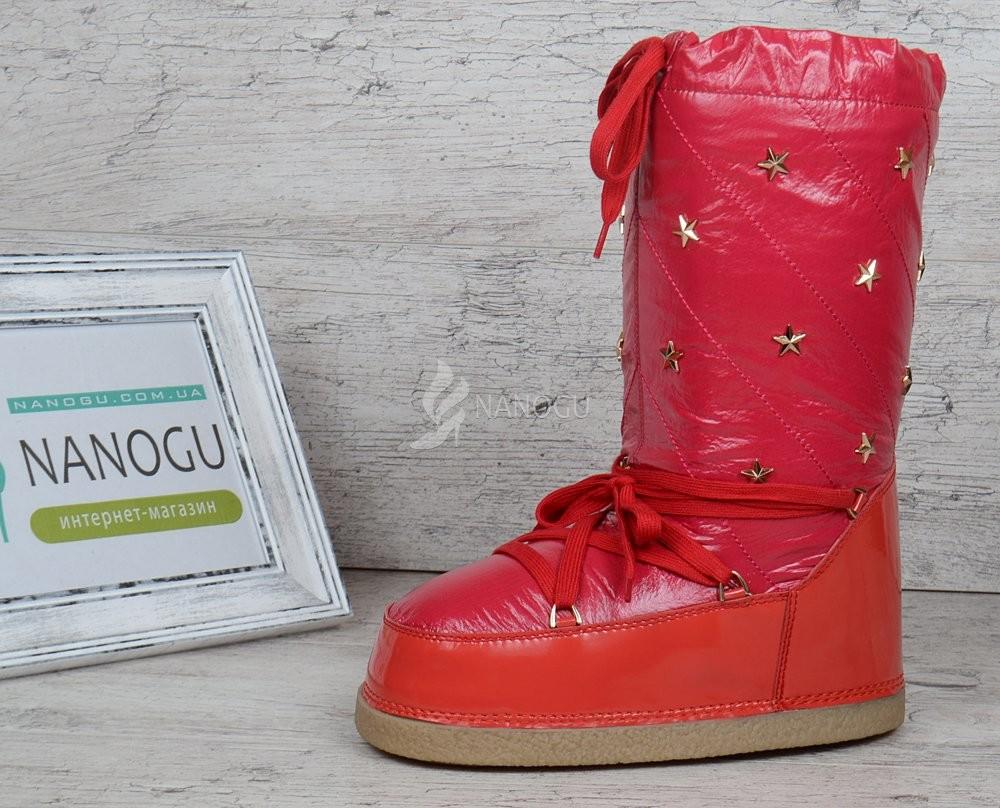 Дутики женские луноходы термо moon boots red самая теплая обувь фото №1