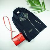 M-L Papaya шерстяное пальто с кожзамовыми вставками и фурнитурой!0295