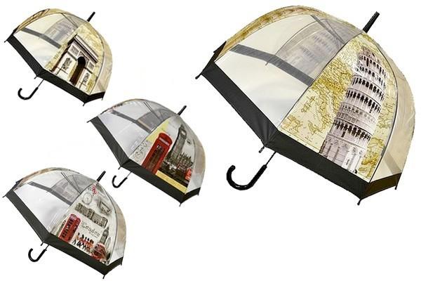 Прозрачный детский подростковый купольный зонт трость города мира для мальчика и девочки фото №1