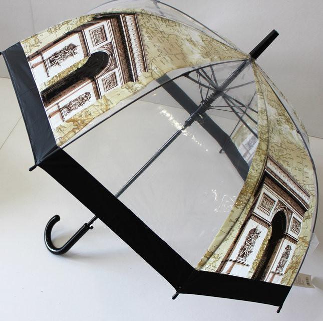 Прозрачный детский подростковый купольный зонт трость города мира для мальчика и девочки фото №2