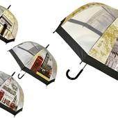 Прозрачный детский подростковый купольный зонт трость Города Мира для мальчика и девочки