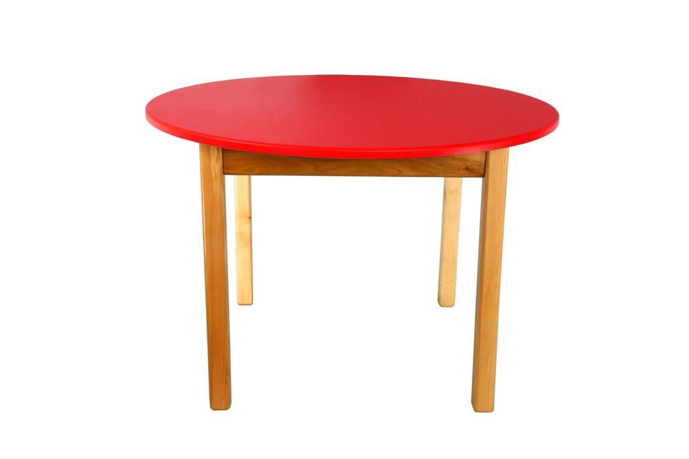 Детский деревянный столик с цветной круглой столешницей, Финекс (Красный) фото №1
