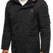 Куртка парка зимняя мужская с капюшоном чёрная