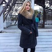 Пальто зимнее на утеплителе слимтекс с мехом. Доставка 2-4 дня.