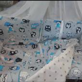 Постельное белье в детскую кроватку 9 в 1.Разные цвета.