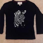 Шикарный регланчик M&S с зеброй на девочку 6-7 лет