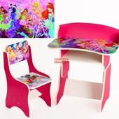 Парта Винкс растущая, стульчик, для девочки 3+, Финекс+, арт 112