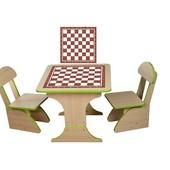 Столик Шахматы с пеналом,60*60*45 растущий +2 стульчика,
