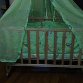 Детская кроватка. матрасик, защита, балдахин,постельное