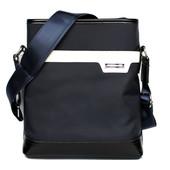 Мужская стильная сумка темно-синего цвета с белой вставкой (Е-54123)