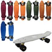 Скейт ms 0297 пенни, 55-14,5см, алюм.подвеска, колеса пу, подшABEC-7,металлик,разобр 6цветов,