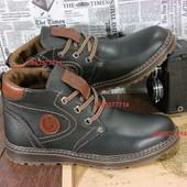 Добротные мужские ботинки, зимние теплые и качественные, молния и  толстая кожа.