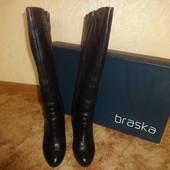 Зимние кожаные сапоги 36 р. 23,5 см. Braska, цигейка, браска, сапожки, зимові, женские, каблук, шкір