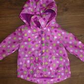 Фирменная легкая деми куртка ветровка на флисе на 9-12-15 месяцев