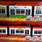 Евро-трамвай Dickie Toys красный, зеленый 46 см