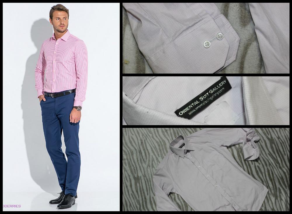 Slim Fit.Крутая рубашка.Белая в мелкую розовую клетку. фото №1