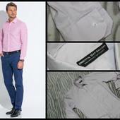 Slim Fit.Крутая рубашка.Белая в мелкую розовую клетку.