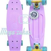 Скейтборд/скейт пенни борд (Penny Board) пенни со светящимися колесами: Lilac, Fishskateboards