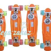 Скейтборд/скейт пенни борд (Penny Board) пенни Fish со светящимися колесами: оранжевый