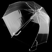 Прозрачный женский / подростковый зонт- трость полуавтомат.Глубокий купол грибком)