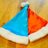 Новогодняя шапочка голубая или красная на выбор 3-5-10 лет