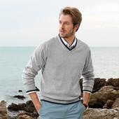 Вязаный мужской свитер пуловер 100% хлопок укр. 52/54 Tchibo Германия