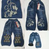 Утепленные флисом детские джинсы для девочек 1-3 г.